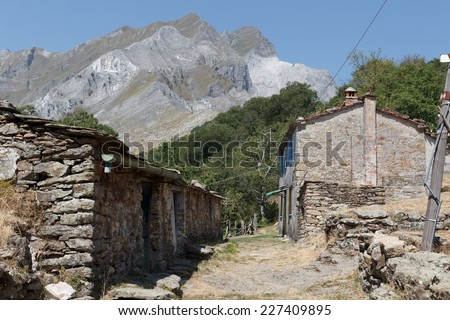 Abandoned village Vergheto in the mountains - stock photo