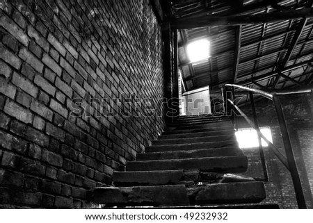 Abandoned Warehouse Stairs To The Office (black And White HDR Photo)
