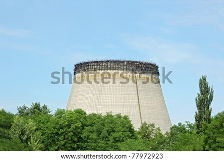 Abandoned water cooling towers of Chernobyl nuclear power plant - stock photo