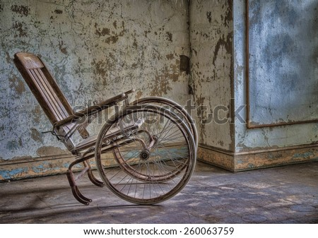 Abandoned Wheelchair at Abandoned Pennhurst Asylum in Pennsylvania