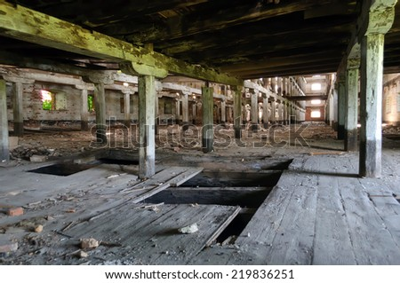 abandoned wooden building - stock photo