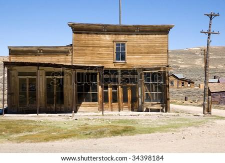 abandoned wooden shop - stock photo
