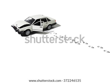 Abandoned & Wrecked Automobile (Model) - stock photo