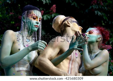 ABANO TERME, ITALY - MAY 8: Young models and 20 europeans body painters at work for the Bodypainting Festival, the 4th festival (public and free) of body painting in Abano Terme, Italy. May 8, 2016.