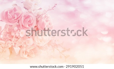 Abatract. Sweet pastel color of rose flowers in bokeh texture soft blur for background.