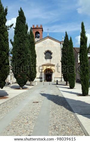 Abbey in Rodengo Saiano - Franciacorta, Lumbardy, Italy - stock photo