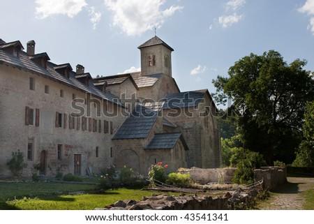 Abbey of Boscodon near Crots at the Lac  Serre Poncon, France - stock photo