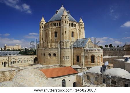 Abbey of the Dormition  - Jerusalem - stock photo