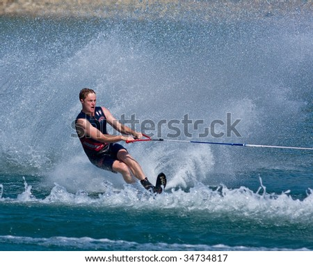 ABBOTSFORD, BC - AUGUST 3: Andrew Wilmott from Australia's NSW Fire Brigade competes in the men's slalom novice waterskiing at the World Police and Fire games Aug 3, 2009 in Abbotsford, BC.