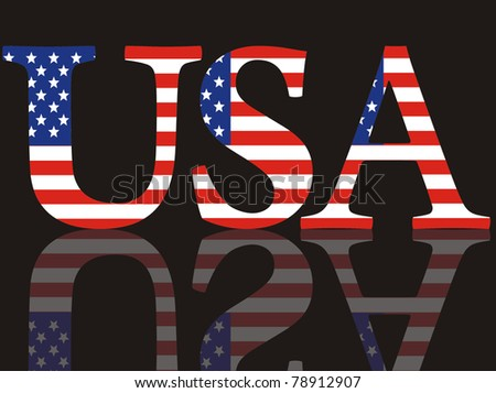 Abbreviation of the USA with national colors on a black mirror background - stock photo