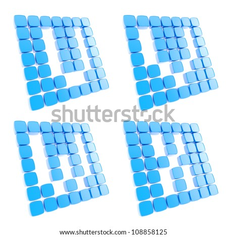 Abc alphabet letter symbol plates made of blue glossy plastic cubes isolated on white - stock photo