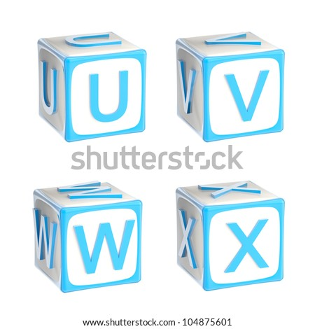 ABC: alphabet made of children playing cubes blue bright and glossy isolated on white, letters u, v, w, x - stock photo