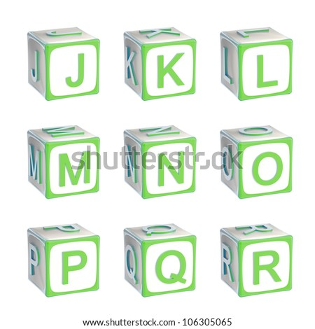 ABC: alphabet made of children playing cubes green bright and glossy isolated on white, letters j, k, l, m, n, o, p, q, r - stock photo