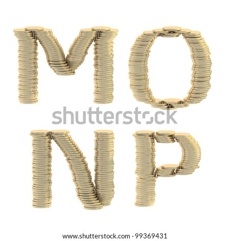 ABC alphabet symbols made of golden glossy coins isolated on white - stock photo