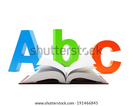 Abc and an open book - education and school concept - stock photo