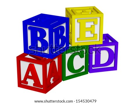 ABC blocks 3d - stock photo