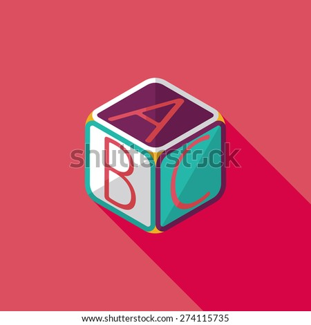 ABC blocks flat icon with long shadow  - stock photo