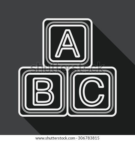 ABC blocks flat icon with long shadow,EPS 10, line icon - stock photo