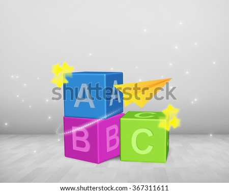 ABC blocks heap  - stock photo