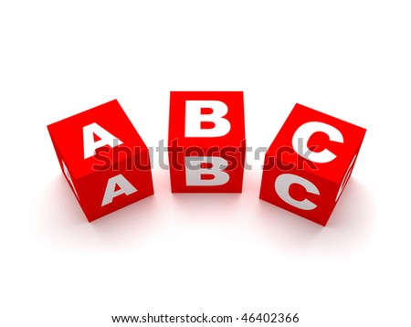 ABC blocks in red, green and blue colors isolated on white for education or other concepts