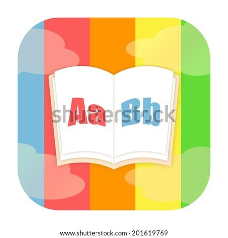 ABC book, encyclopedia or dictionary icon - stock photo
