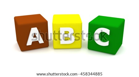 ABC building blocks isolated on white background.  3d render - stock photo