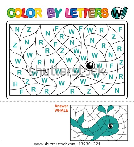 ABC Coloring Book for kids. Color by letter. Learn to write capital letters of the English alphabet. Puzzle for children. Whale. W - stock photo
