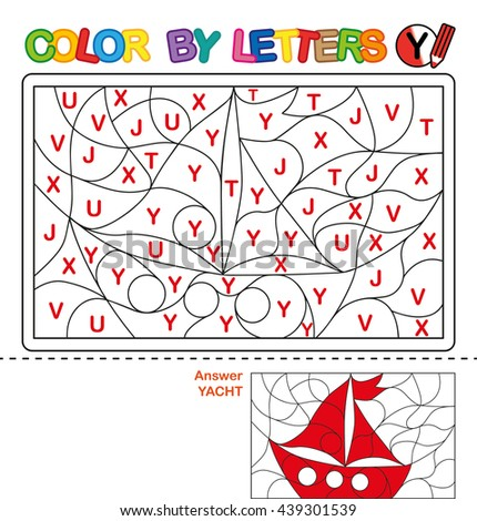 ABC Coloring Book for kids. Color by letter. Learn to write capital letters of the English alphabet. Puzzle for children. Yacht. Y - stock photo