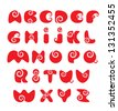 ABC - english alphabet - red funny spiral cartoon letters. Raster version - stock photo