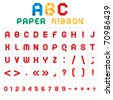 ABC font from paper tape, colored with white background. Bitmap copy my vector ID 60074422 - stock photo