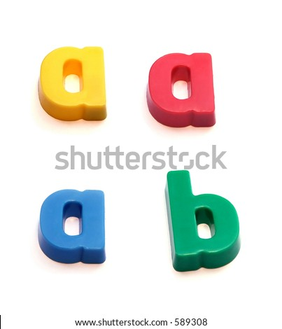ABC fridge magnets - letters a (in three colors) and b. Mix and Match to make your own words - stock photo