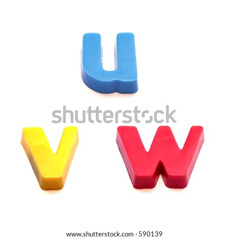 ABC fridge magnets - letters u, v and w Mix and Match to make your own words - stock photo