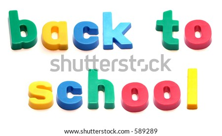 ABC fridge magnets spell 'back to school' - stock photo