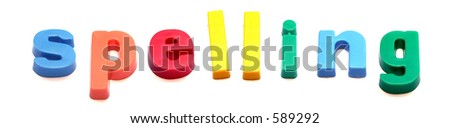 ABC fridge magnets spell out 'spelling' - stock photo