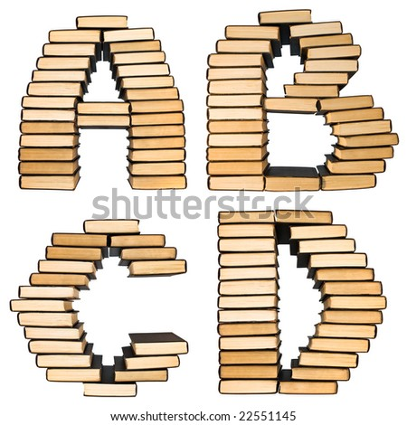 ABC  from books. Alphabet, isolated on a white background