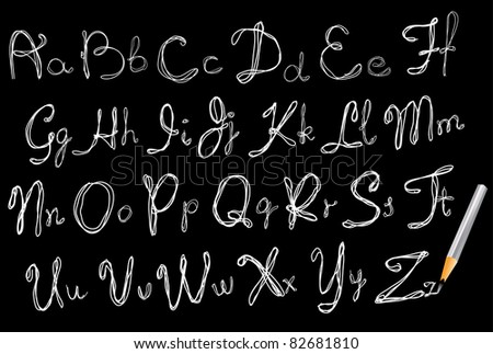 ABC, Hand drawing alphabet over black