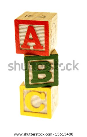 ABC learning blocks isolated over white - stock photo