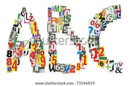 ABC letters made of newspaper letters, numbers and punctuation marks, isolated on white - stock photo