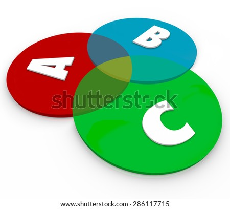 ABC letters on venn diagram overlapping circles to show common ground of different choices, principles or elements - stock photo
