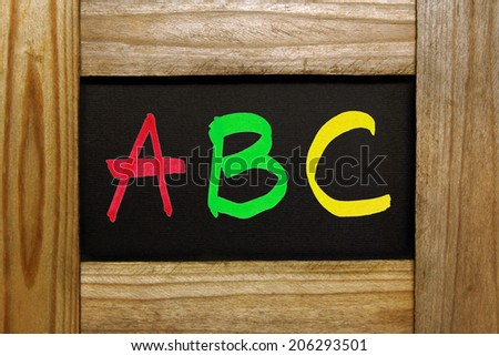 ABC letters on wooden frame
