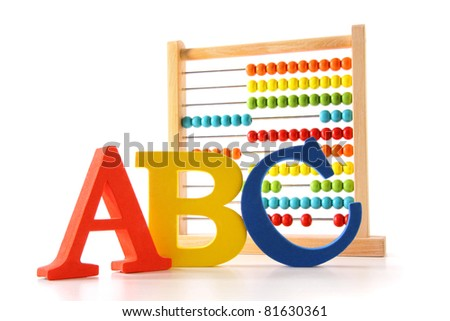 ABC letters with abacus on white background - stock photo