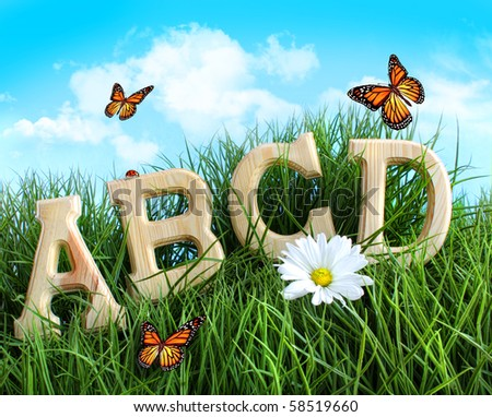 ABC letters with daisy in tall grass - stock photo