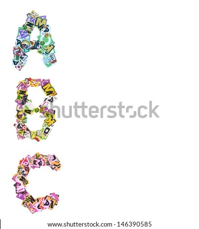 ABC made of newspaper clippings - stock photo