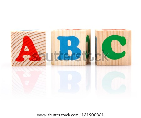 ABC Play Blocks isolated  on white - stock photo