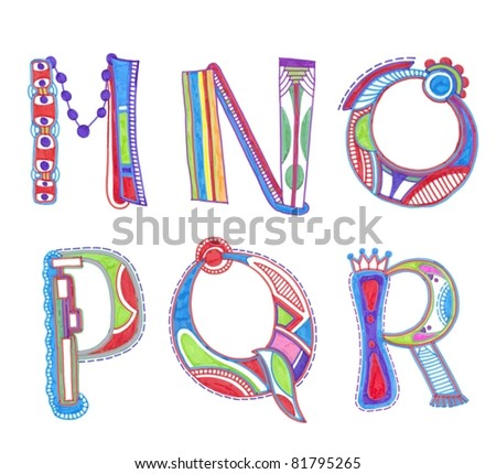 ABC. Sketchy alphabet design - stock photo