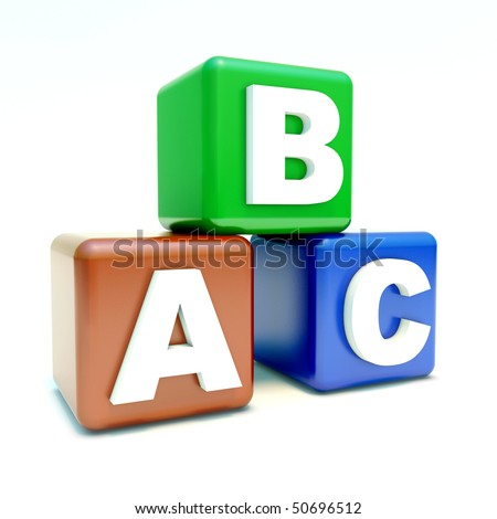 ABC text on the colored boxes 3d model - stock photo