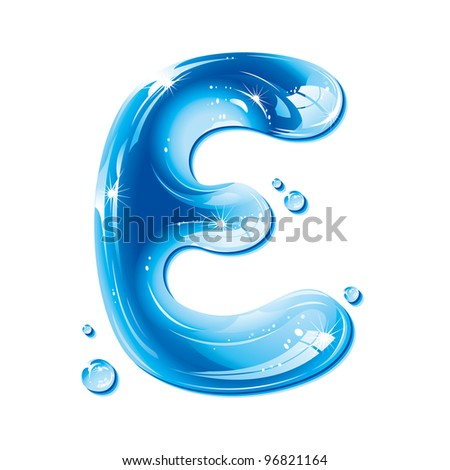ABC Water Letter - Capital E Liquid Alphabet Gel Series  on white background - raster version - stock photo