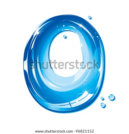 ABC Water Letter - Capital O Liquid Alphabet Gel Series  on white background - raster version - stock photo