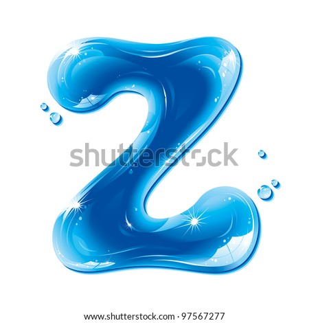 ABC Water Letter - Capital Z Liquid Alphabet Gel Series on white background - raster version - stock photo