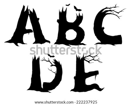 ABCDE Halloween letter designs in a black silhouette of leafless gnarled old tree trunks and branches with flying bats, illustration on white - stock photo